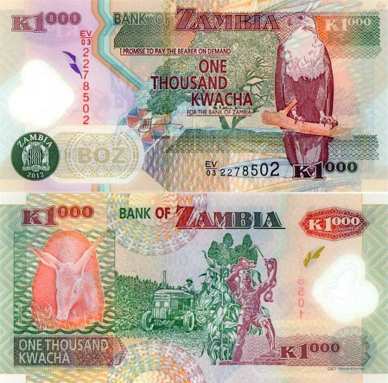 ~ Zambia 1000 Kwacha 2012 OSTATNI Polimer UNIKAT !
