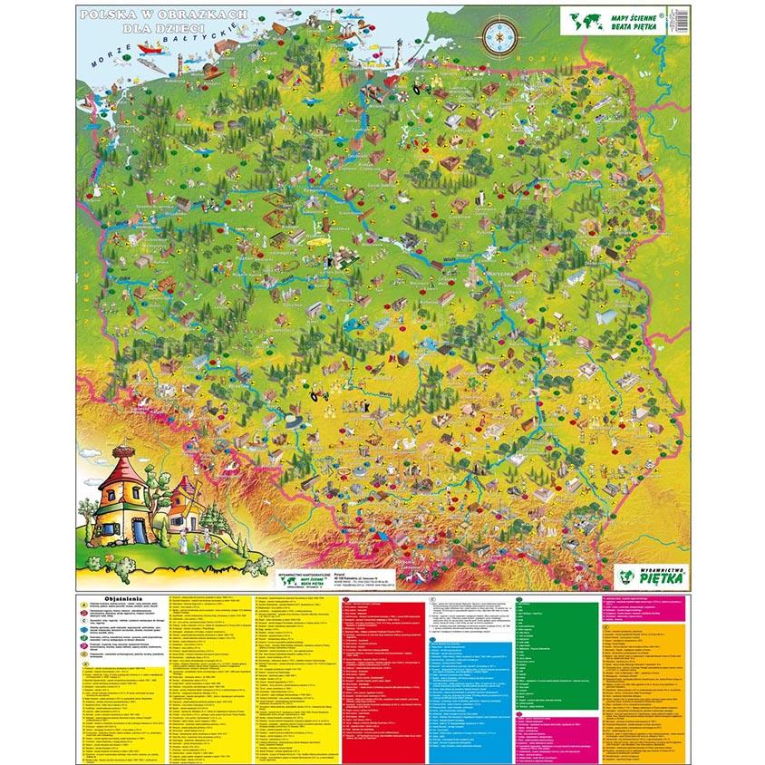 Nástenná mapa Poľska pre deti v obrázkoch