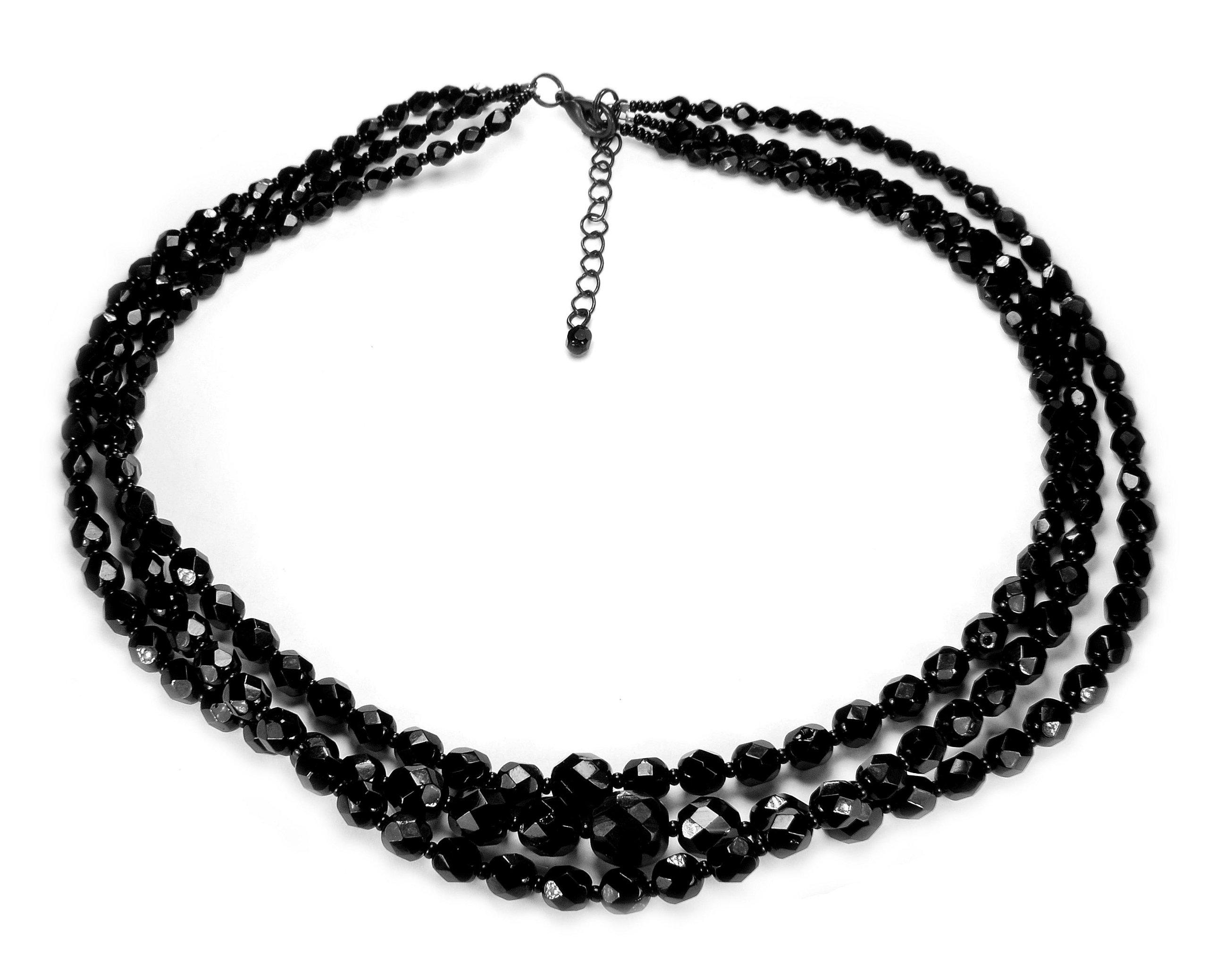 korale naszyjnik potrójny perły czarny elegancki 6620992532 - Allegro.pl -  Więcej niż aukcje. 5b9c96618f3
