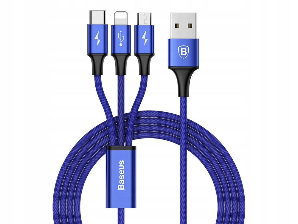 Baseus Rapid Kabel 3A 3W1 Micro Usb Usb-c Iphone