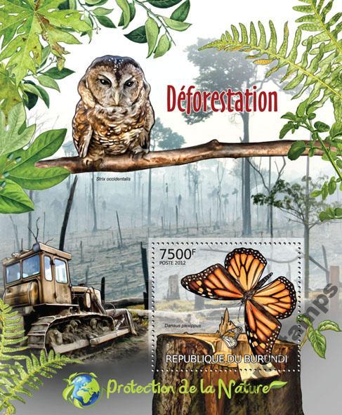 Купить Ochrona lasów ptaki sowa motyle Burundi #BUR12411b на Otpravka - цены и фото - доставка из Польши и стран Европы в Украину.