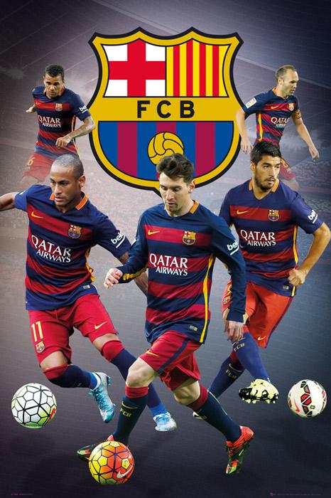 ФК Барселона Месси Неймар Иньеста - плакат 61x91,5