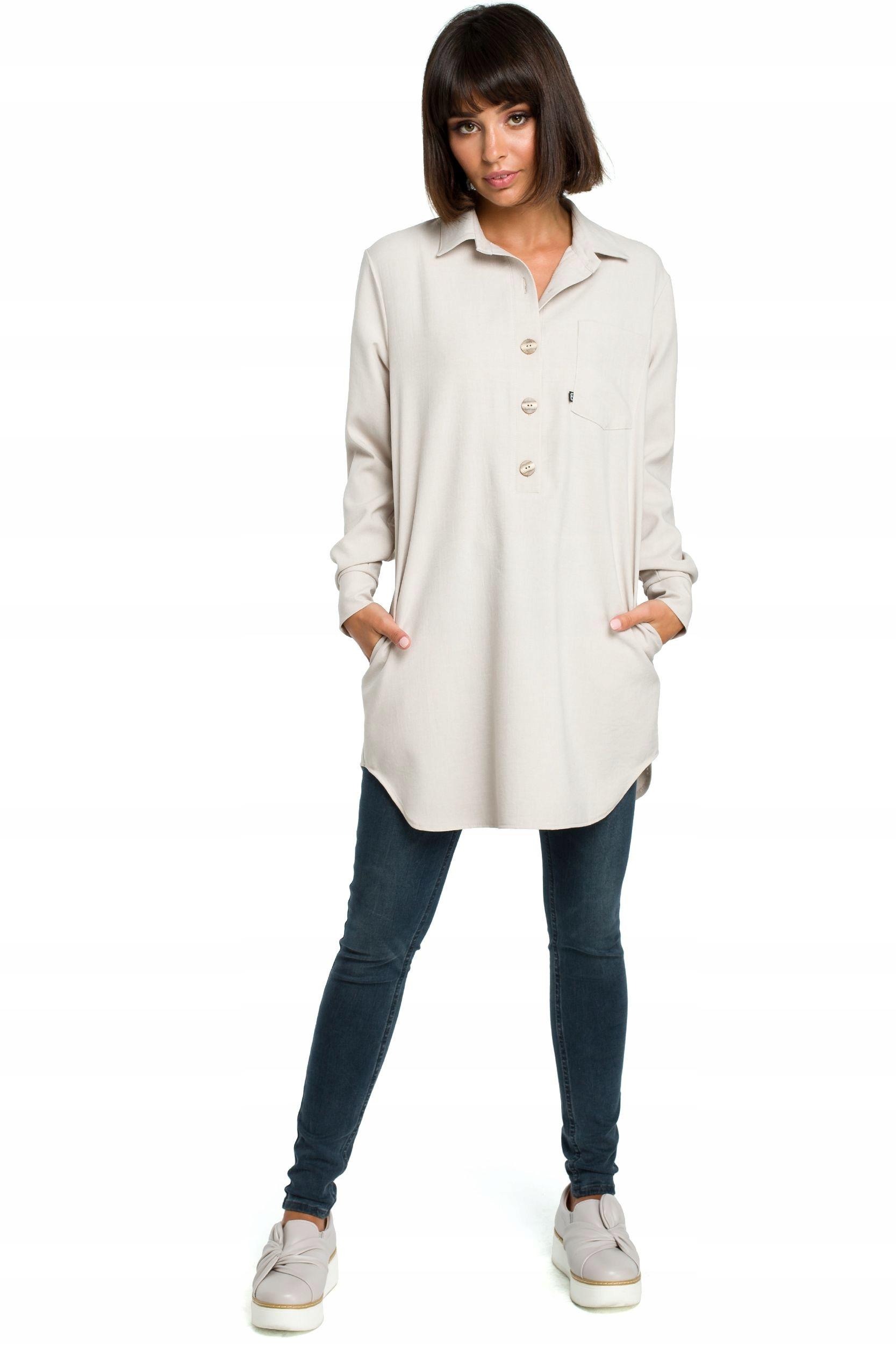 B086 Tunika koszulowa - beżowa S/m