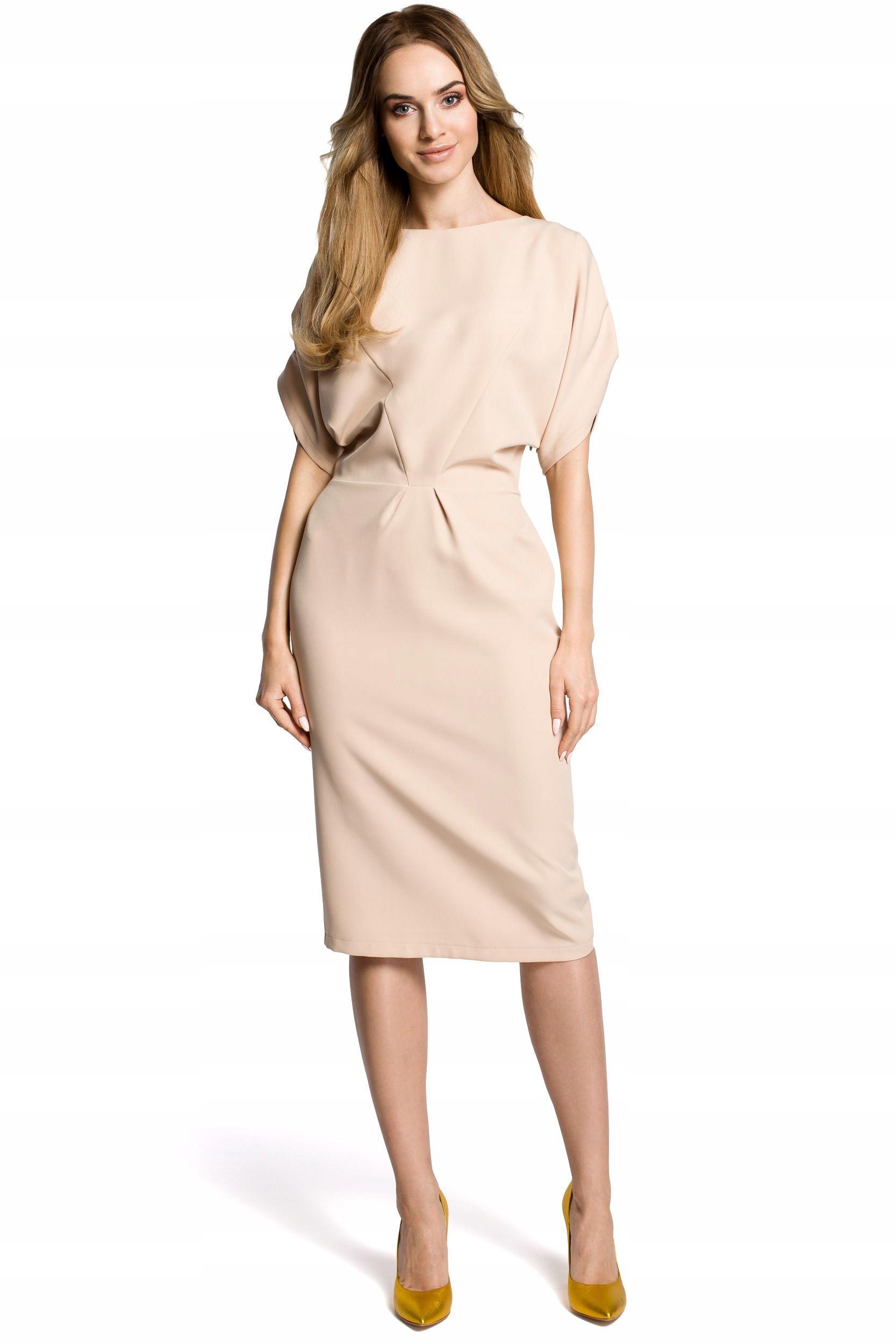 103f60fc5e M364 Sukienka midi kimonowe rękawy z zakładkami - 7706409741 - Allegro.pl