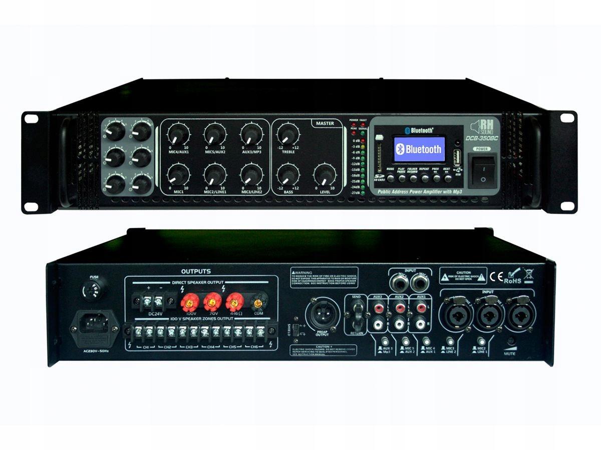 RH SOUND Wzmacniacz 100V DCB 350BC i BT 6 Stref