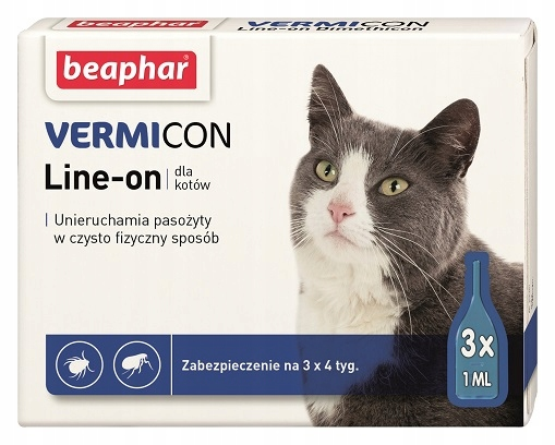 Vermicon кот капли КЛЕЩИ БЛОХИ КОМАРЫ 3szx1ml