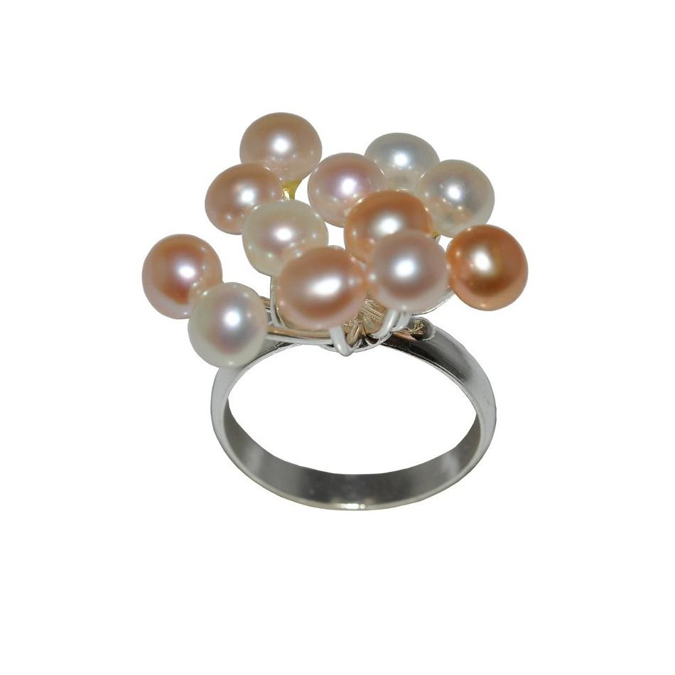 Bujny Srebrny Pierścionek Z Kolorowymi Perłami