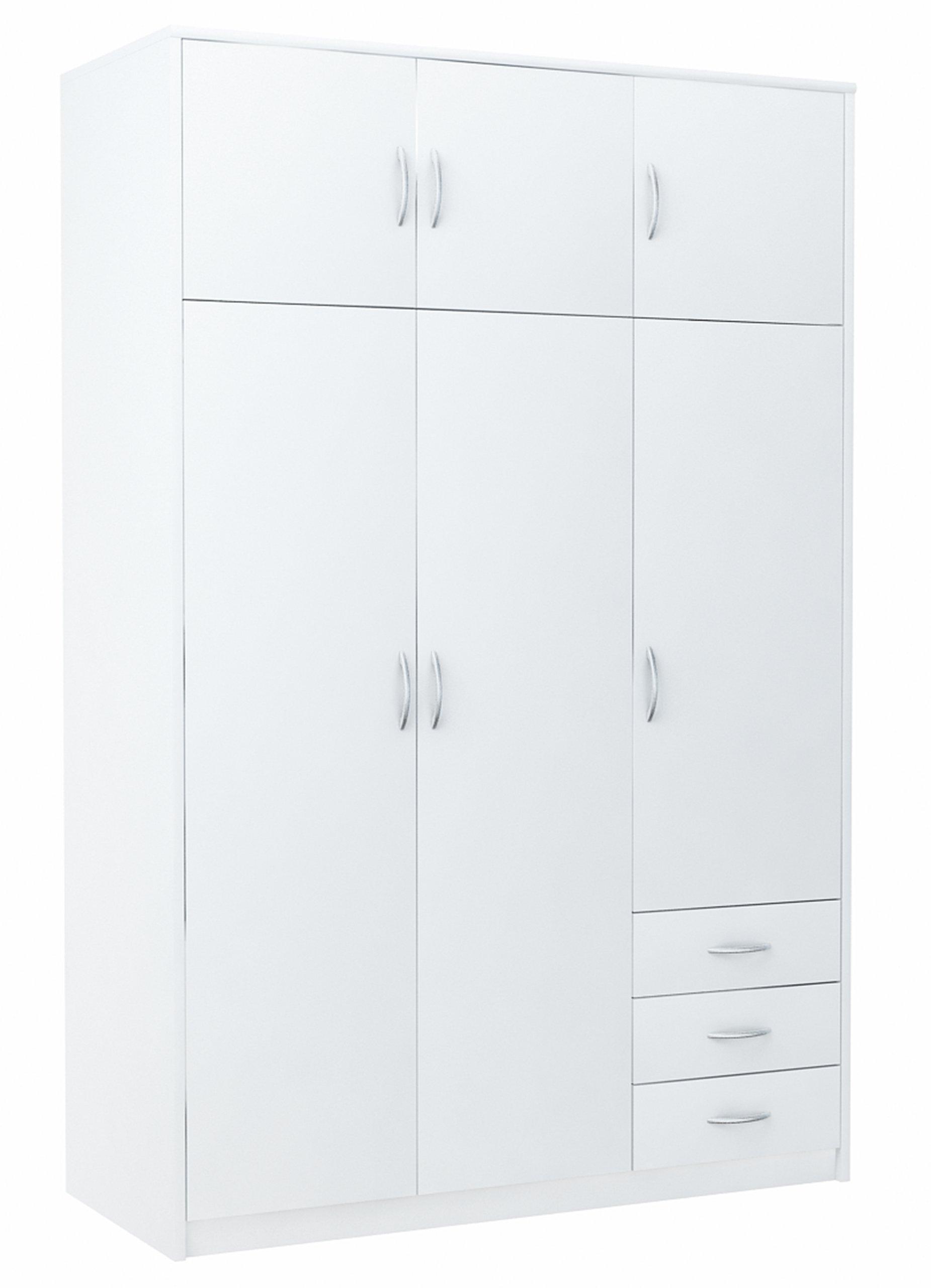Шкаф платяной 6D3S WHITE 127см, комод, книжный шкаф, полка