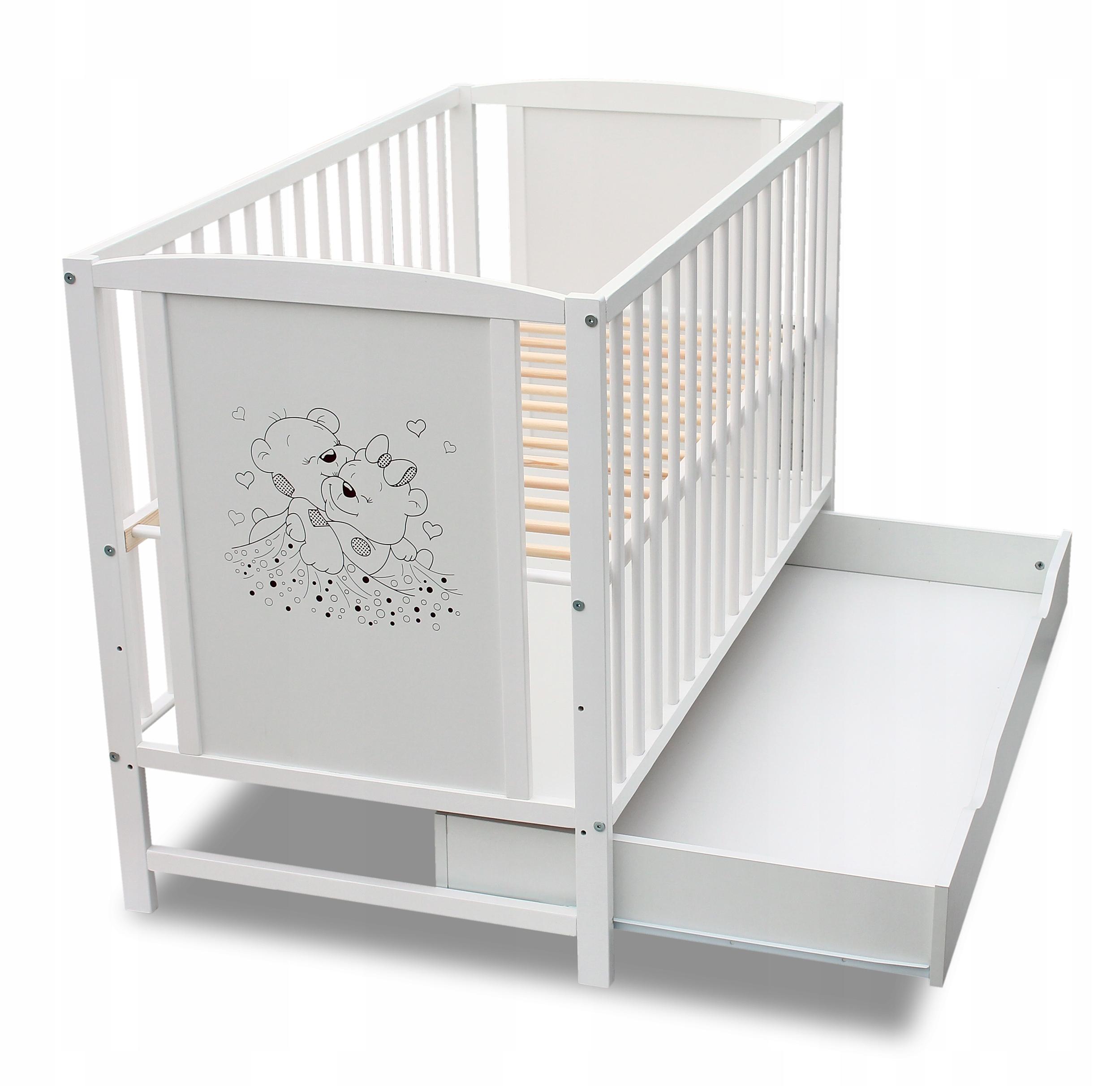 кроватка деревянная с ящиком сказка белая 120x60 купить с доставкой из польши с Allegro на Fastbox 7596973503