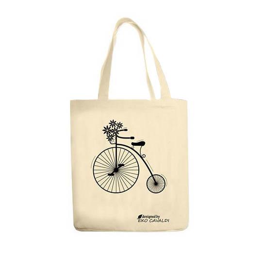 EKO BAG torba bawełniana ekologiczna NADRUK ROWER