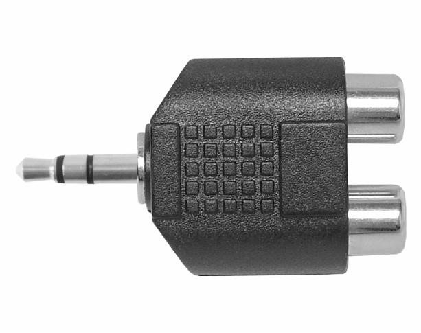Zníženie konektora 3,5 mm x 2 RCA stereo adaptér
