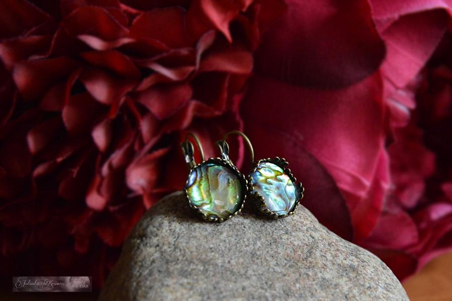 Paua shell krásne!!! Náušnice, kolekcia vintage