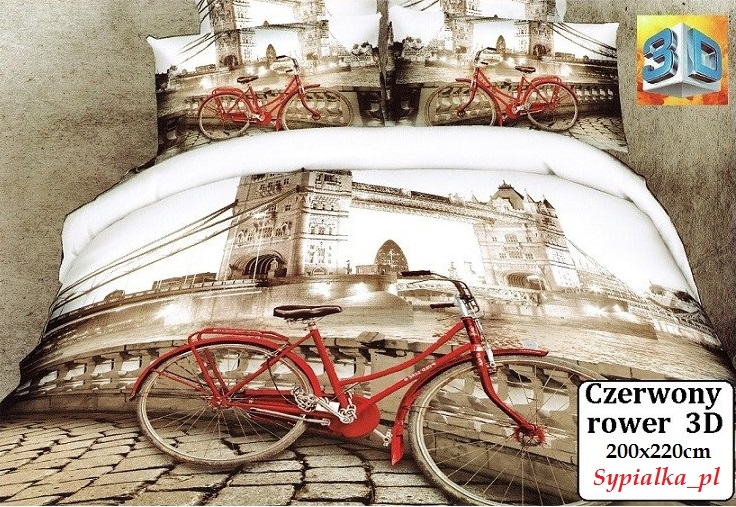 Posteľná bielizeň 3D Červený bicykel Bicykel retro 160x200 Londýn