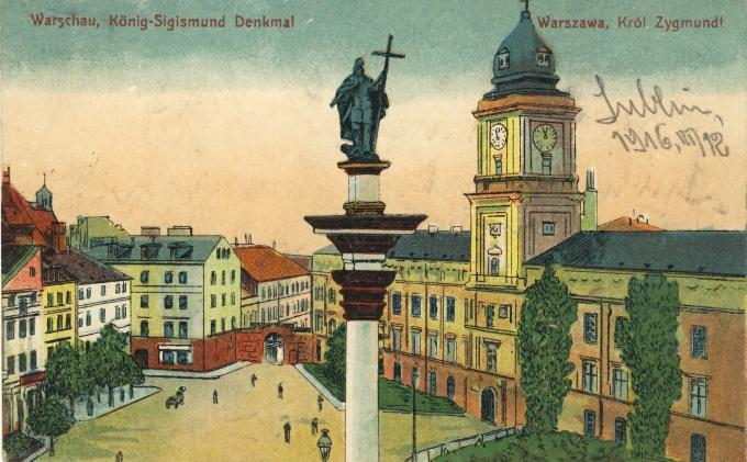 Warschau. Koenig-Sigmund Denkmal. Dobre. 1915