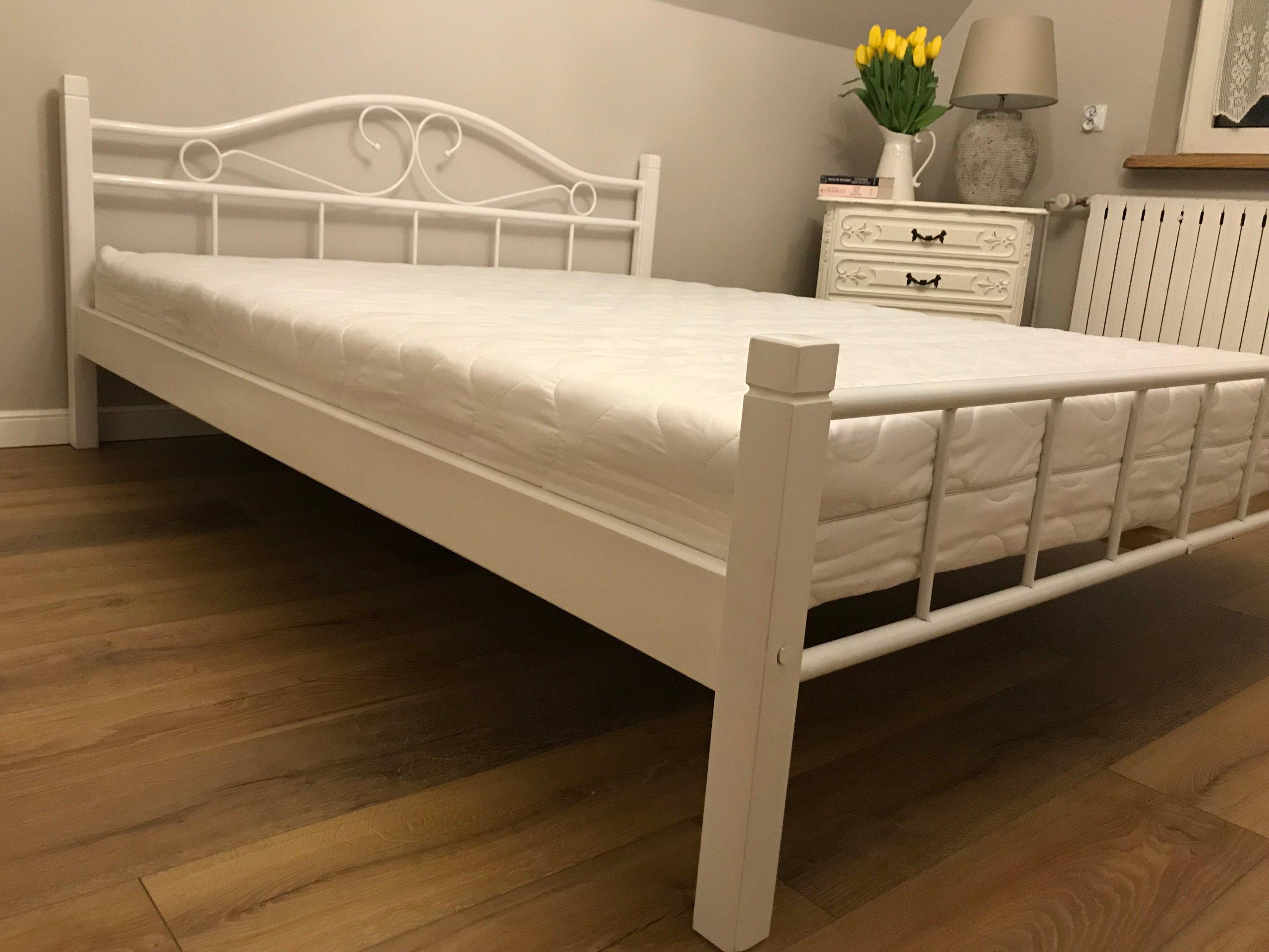 łóżko Metalowe Agata 100x200 Białe I Czarno Białe