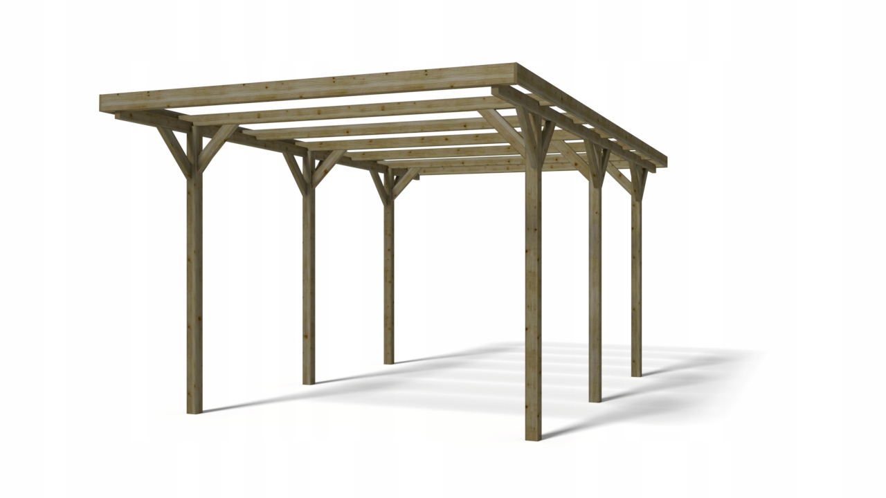 Carport drewniany wiata 3x5 m 90mm impregnowana