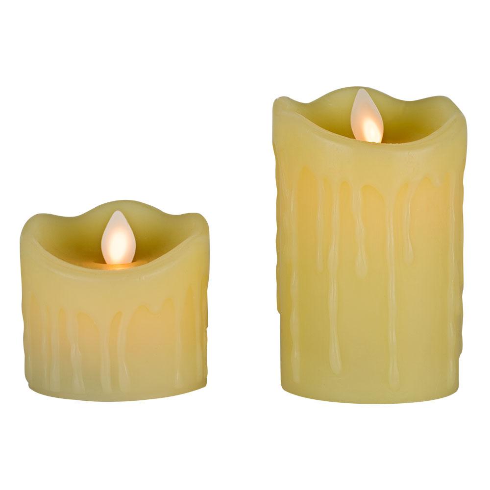 2 x ŚWIECA ZNICZ LED WOSK RUCHOMY PŁOMIEŃ 8 i 11cm