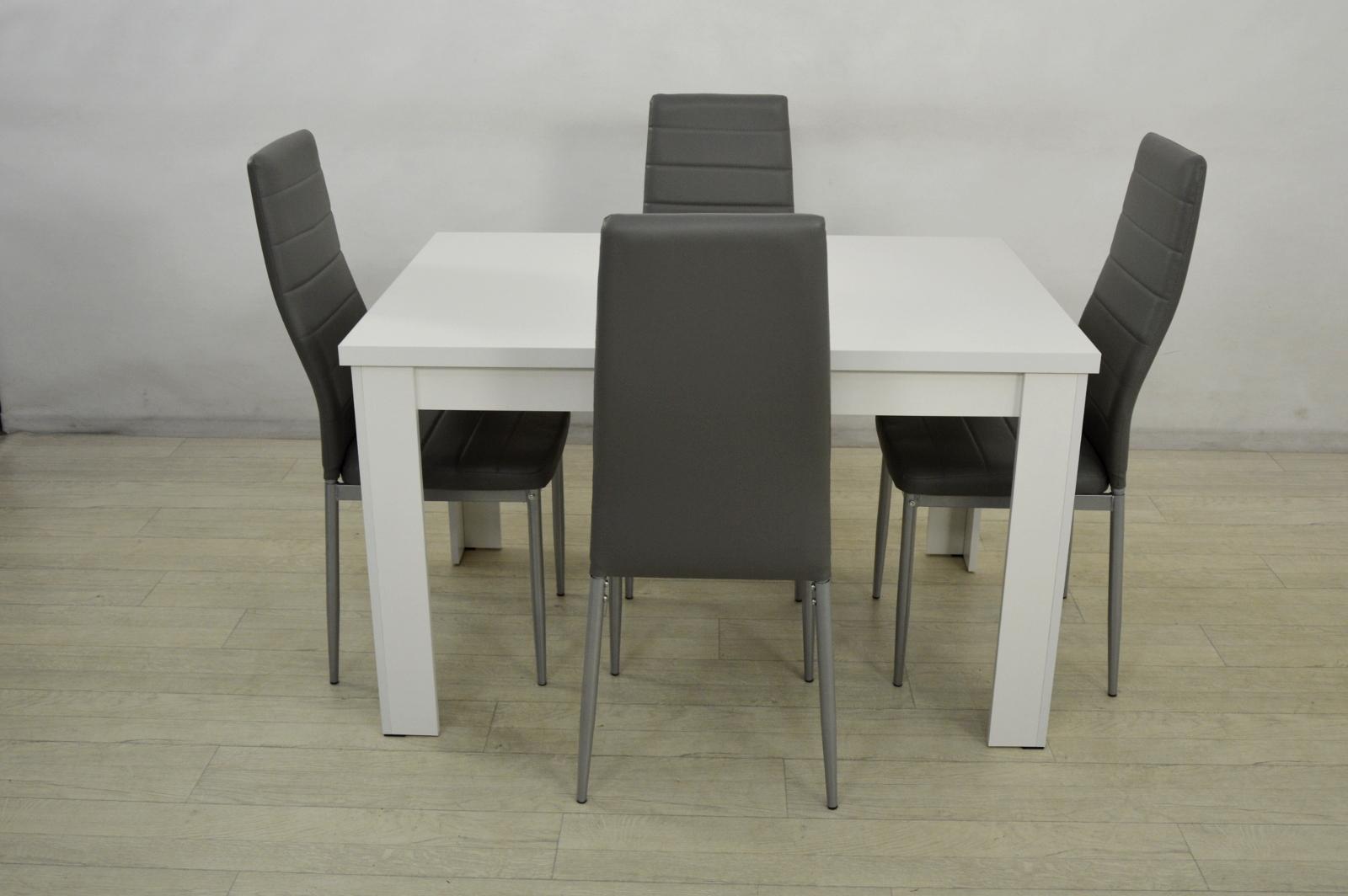 Zestaw JACKED Stół i 4 krzesła Nowoczesne szare 726 zł