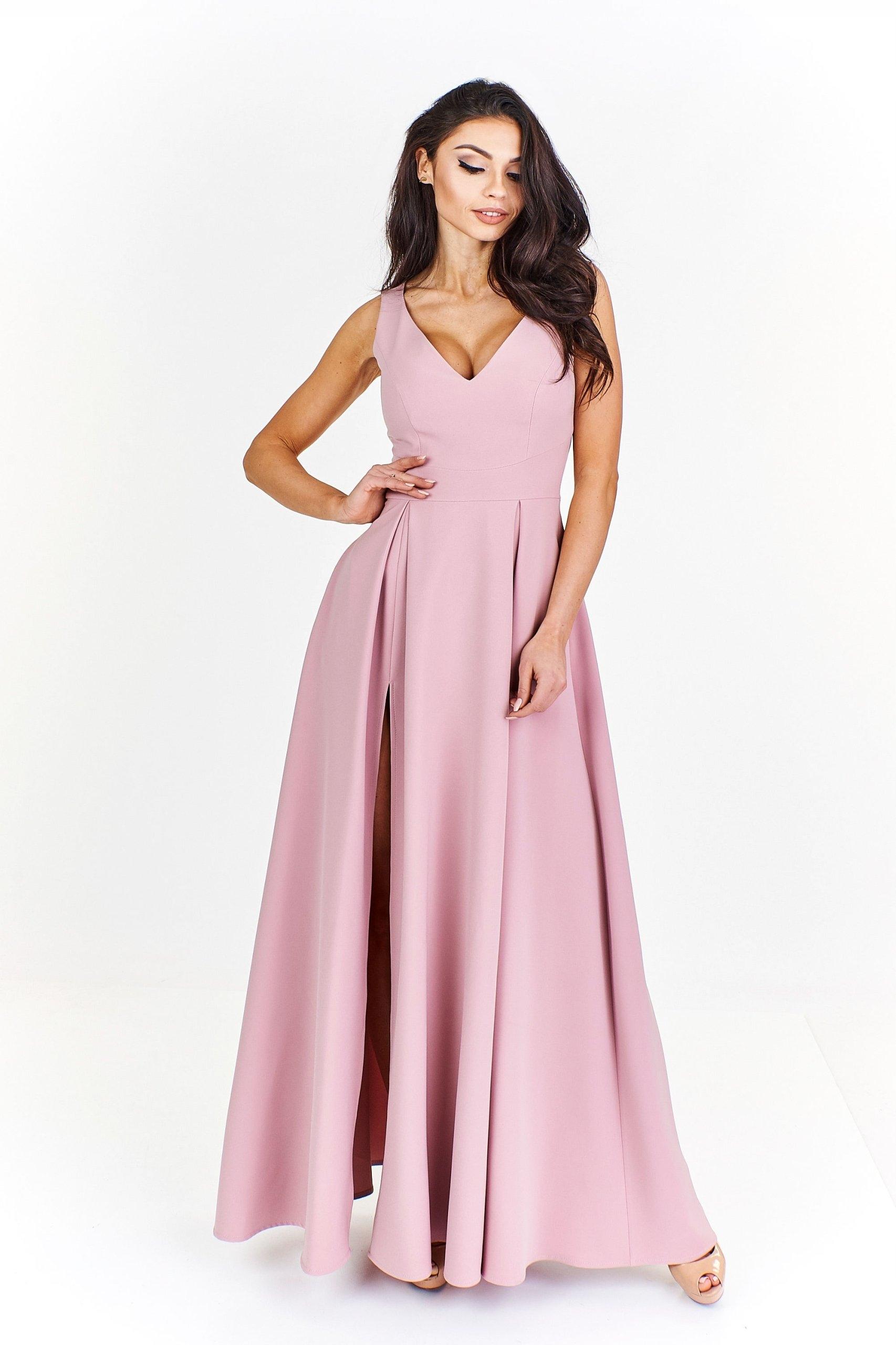 db614991d8e68a Długa sukienka maxi z dekoltem w serek.Wesele M - 7376799163 ...