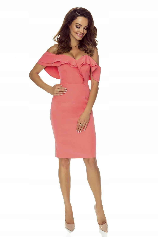 0b1707442e Zmysłowa sukienka z opadającymi rękawami łosoś L - 7575022063 ...