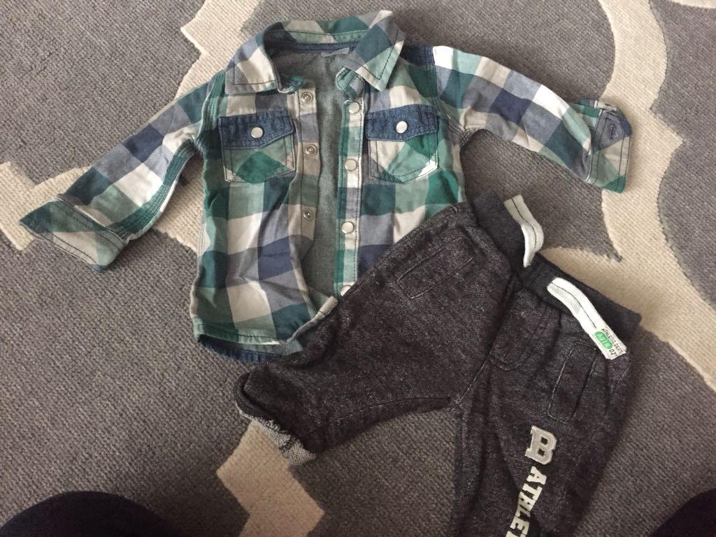 Komplet koszula jeansowa i spodnie F&F  r. 62