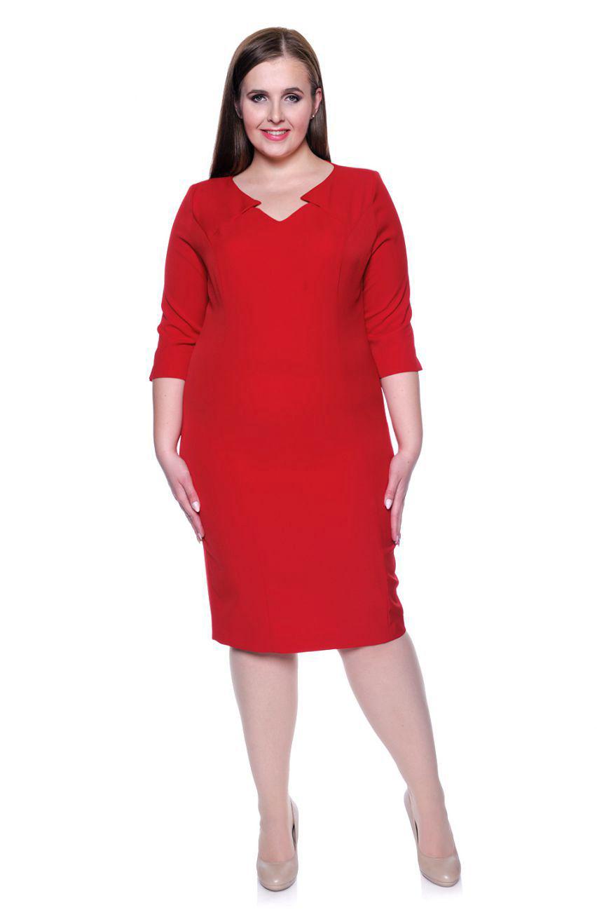 d444cf299a Czerwona elegancka sukienka dekolt rożek r. 56 - 6892401992 ...