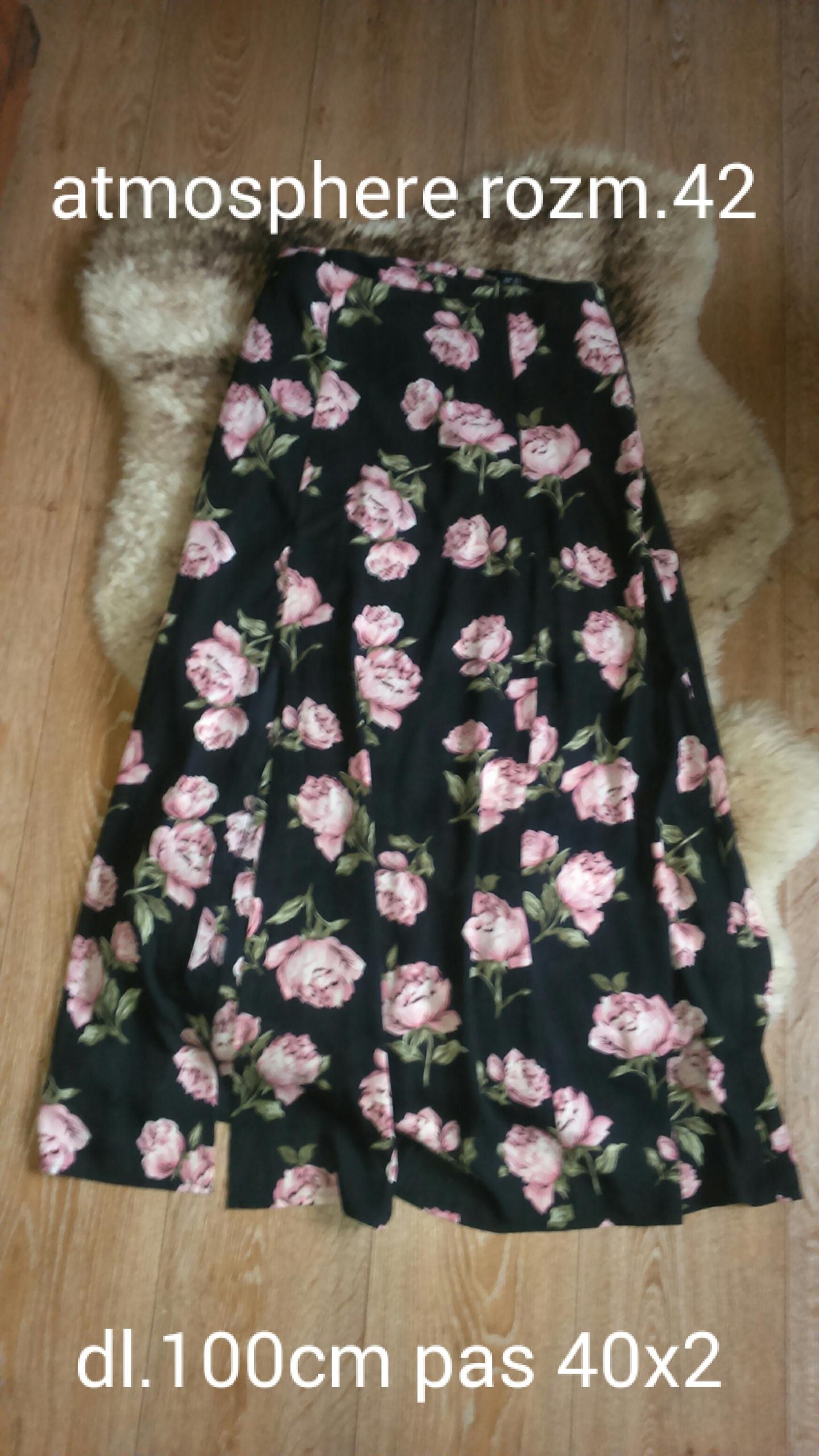 Spódnica maxi róże rozciecia z przodu 7625683800