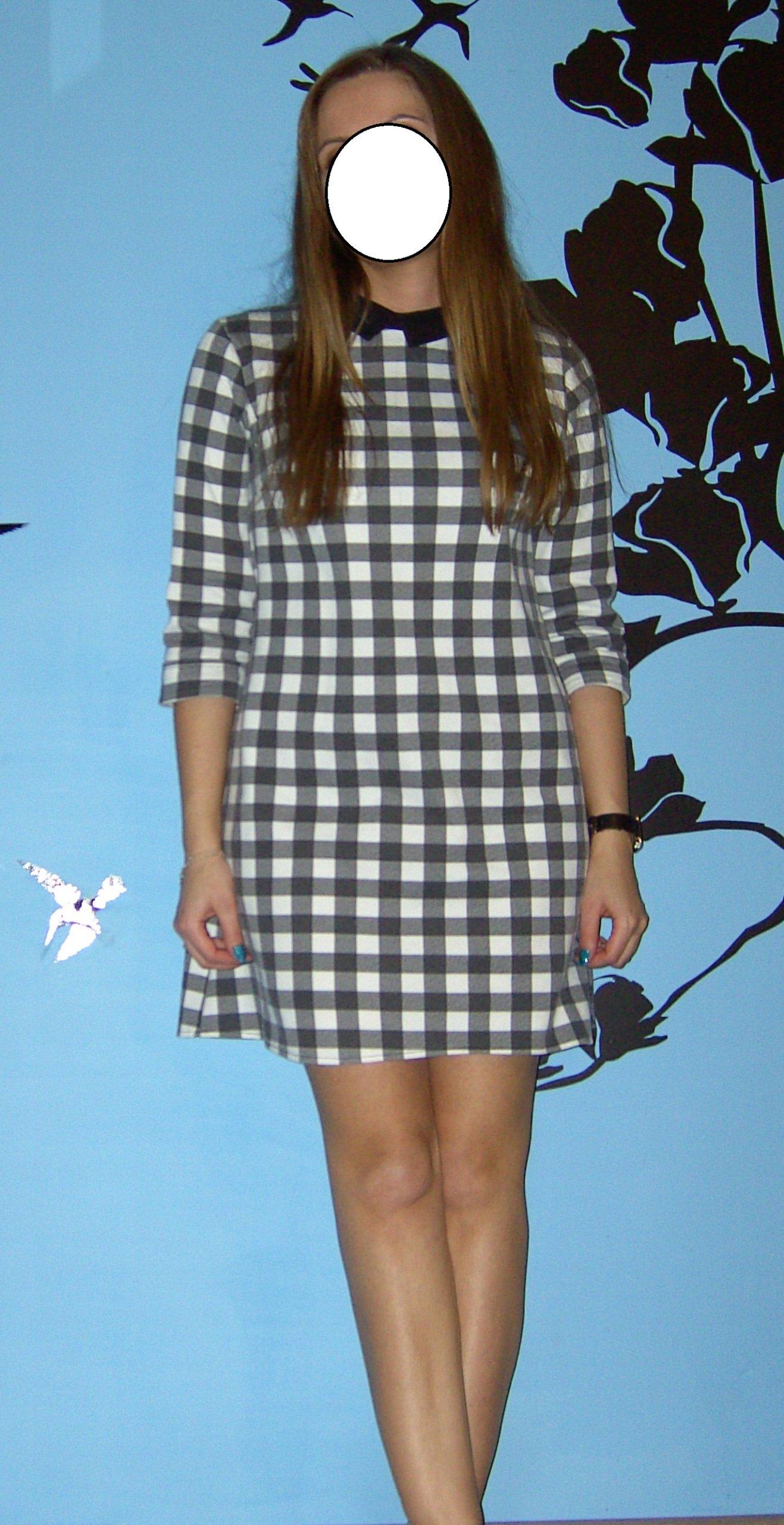 5066b0807f sukienka biało czarna krata luźna L XL - 7331420135 - oficjalne ...