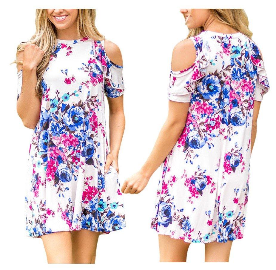 59e12b1da8 Sukienka letnia odkryte ramiona kwiaty biała S - 7404466977 ...