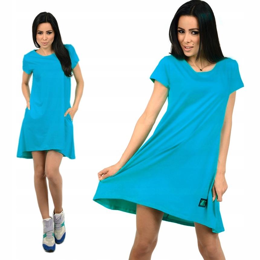 242efe9fc7 Sukienka dresowa TUNIKA oversize gładka 079 Blue - 7466115329 ...