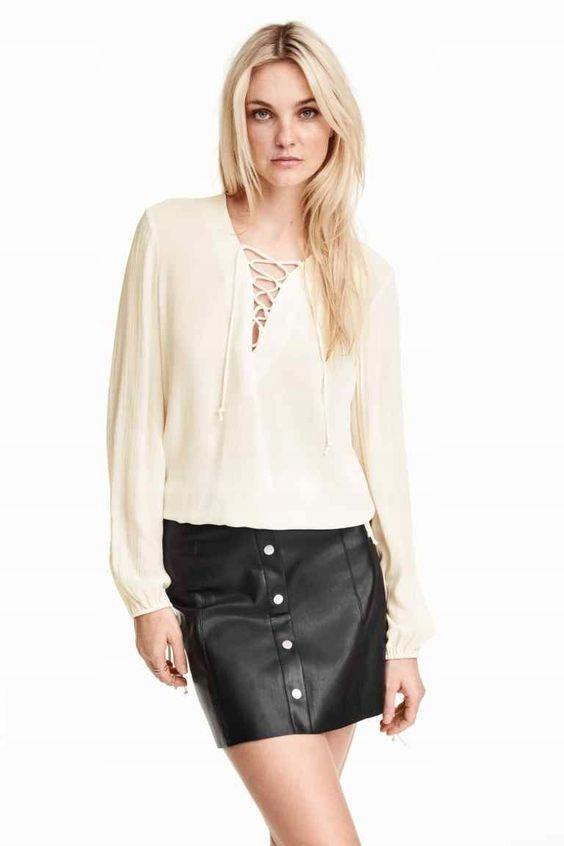 Bluzka z wiązaniem H M koszula XS 34 kremowa - 7254619464 ... 8fbddaefd7