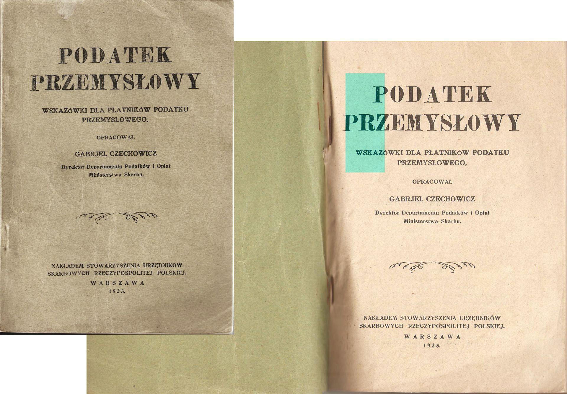 PODATEK 1925 Czechowicz Ministerstwo Skarbu