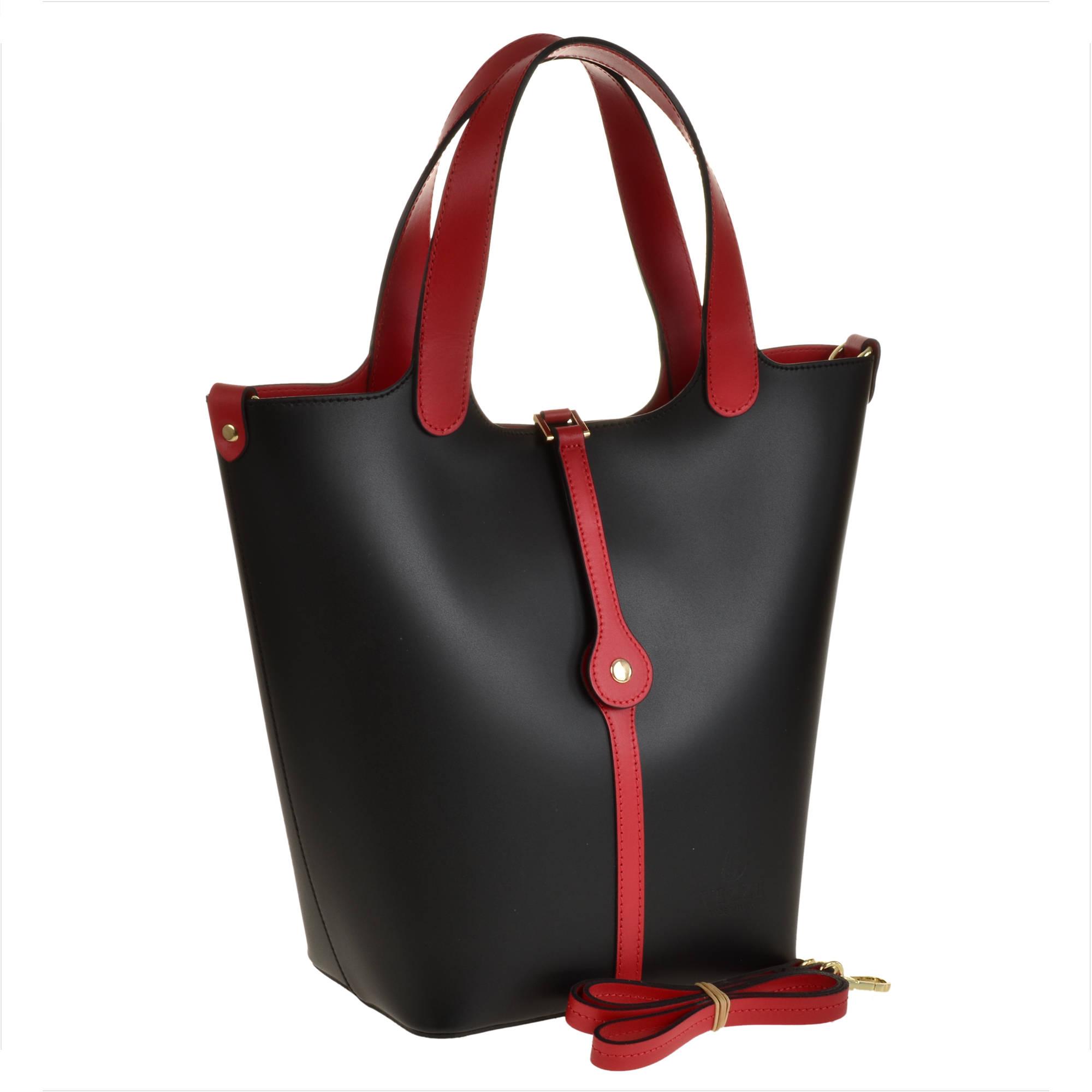 21a46eb81c72d Torebka damska shopper skórzana czarna z czerwonym - 7198661235 ...