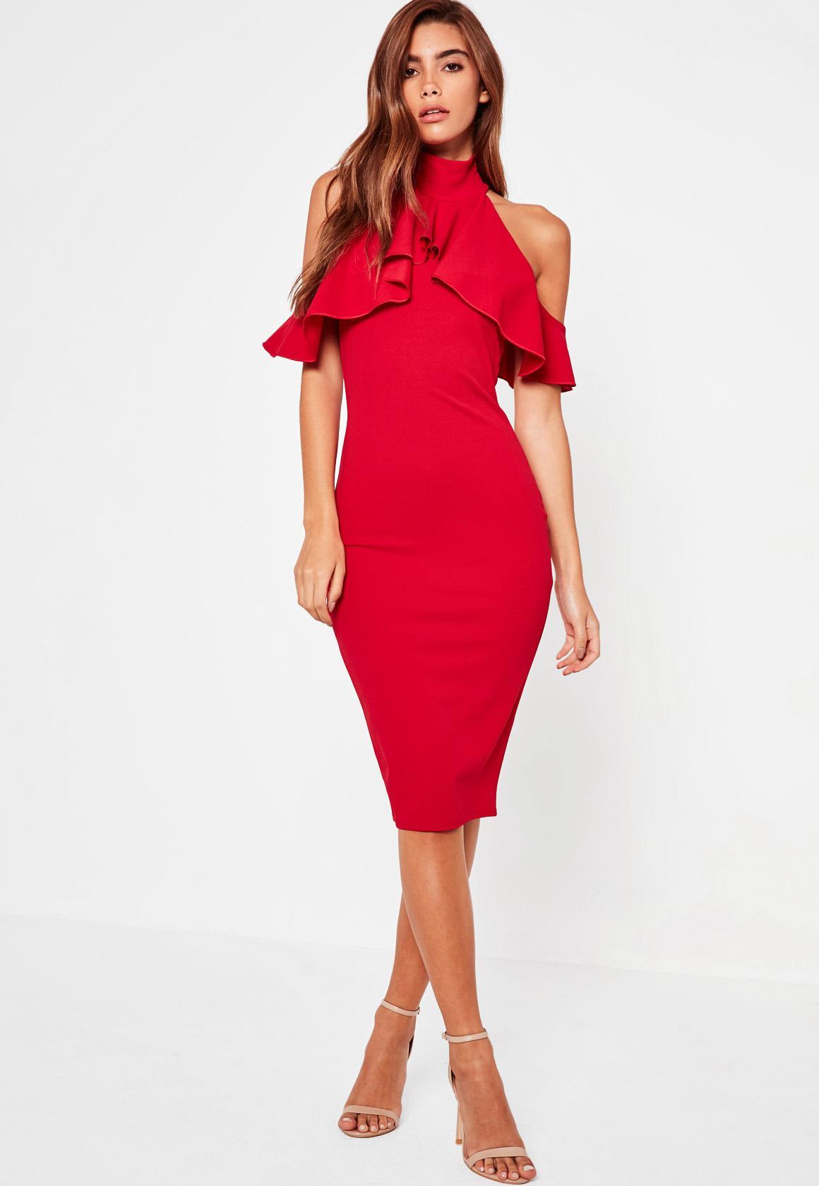 f78af39144 MISSGUIDED Ołówkowa Sukienka Elegancka Czerwona 36 - 7194274924 - oficjalne  archiwum allegro