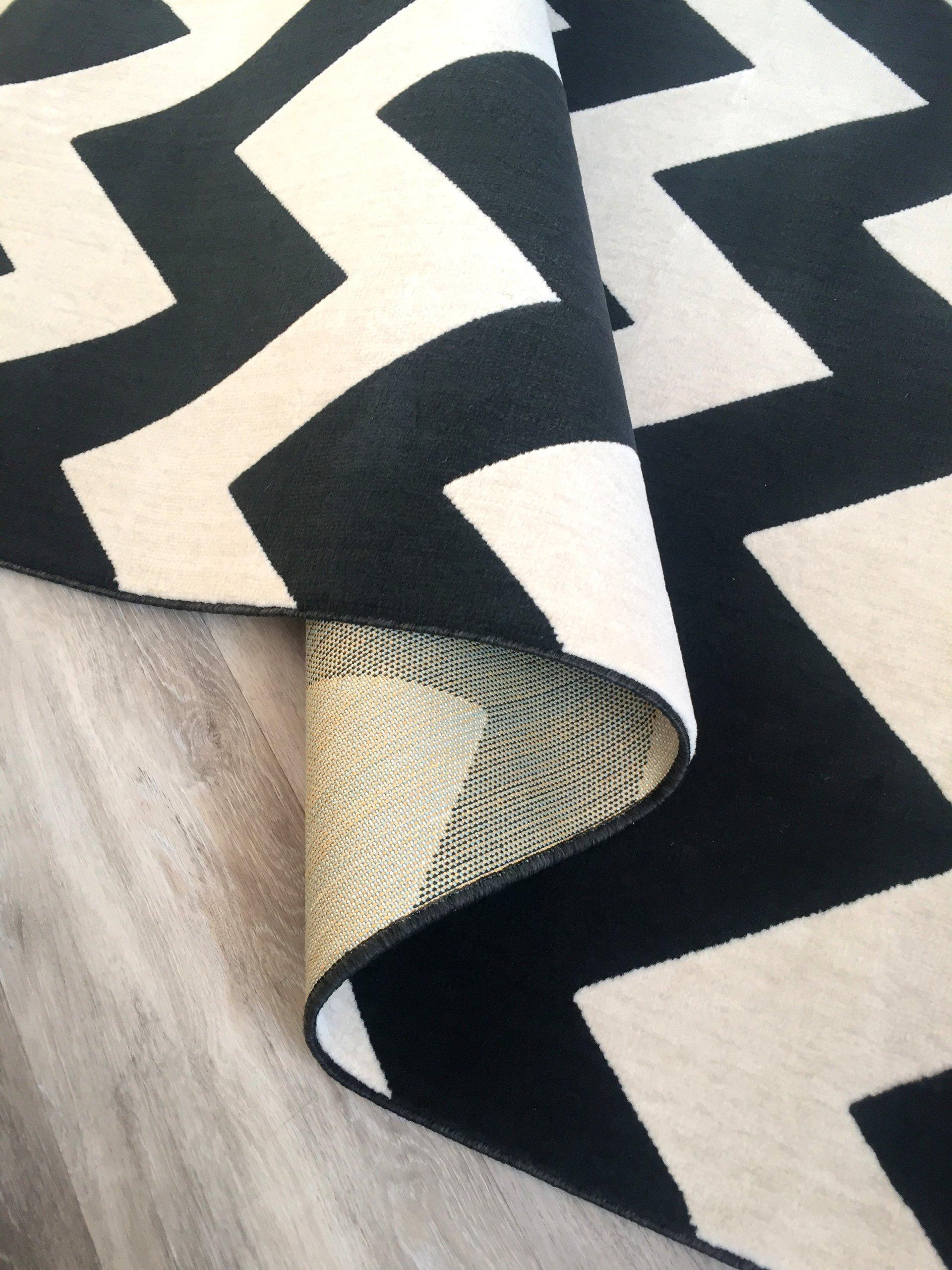 Dywan canvas 160x230 zygzak biało czarny skandi 7426903530