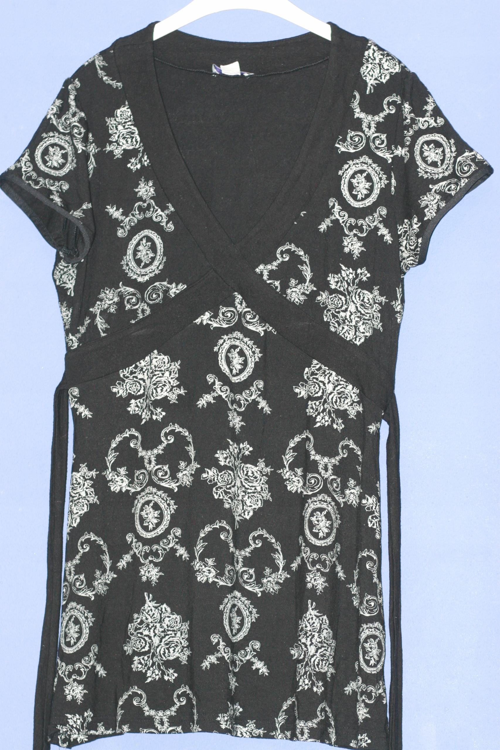 biało czarna tunika - 40/ ciąża/ karmienie
