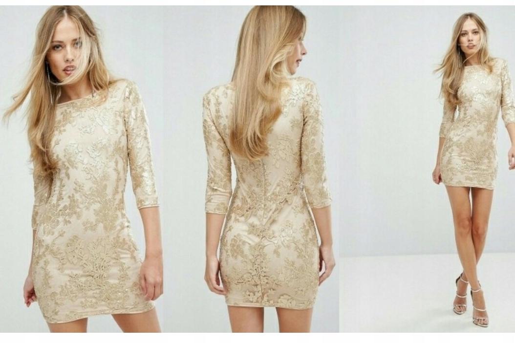 40c951fde128d6 Sukienka Tfnc 36 s złota cekiny mini sylwester - 7721221959 ...