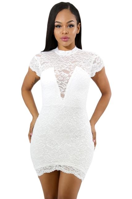 951dc98128 Koronkowa sukienka z krótkim rękawem S - 7289974949 - oficjalne archiwum  allegro