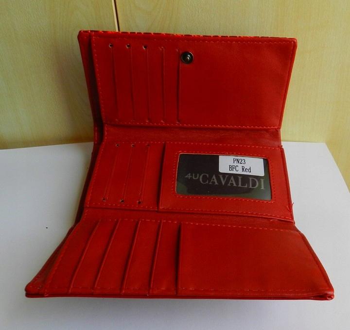 62ea02380d3e8 Portfel damski CAVALDI RED tłoczony motyl SKÓRA - 7406981013 ...