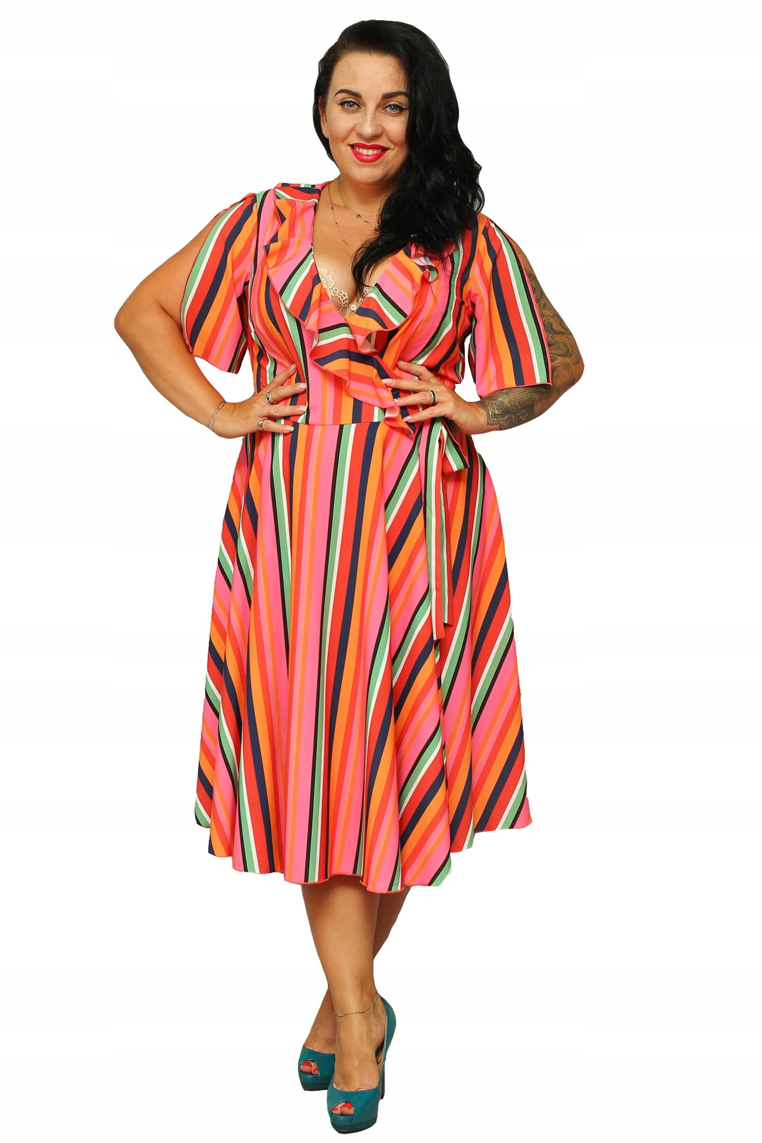 32e346508e53e3 Sukienka MIRELLA kopertowa paski pomarańczowe 48 - 7426509011 ...