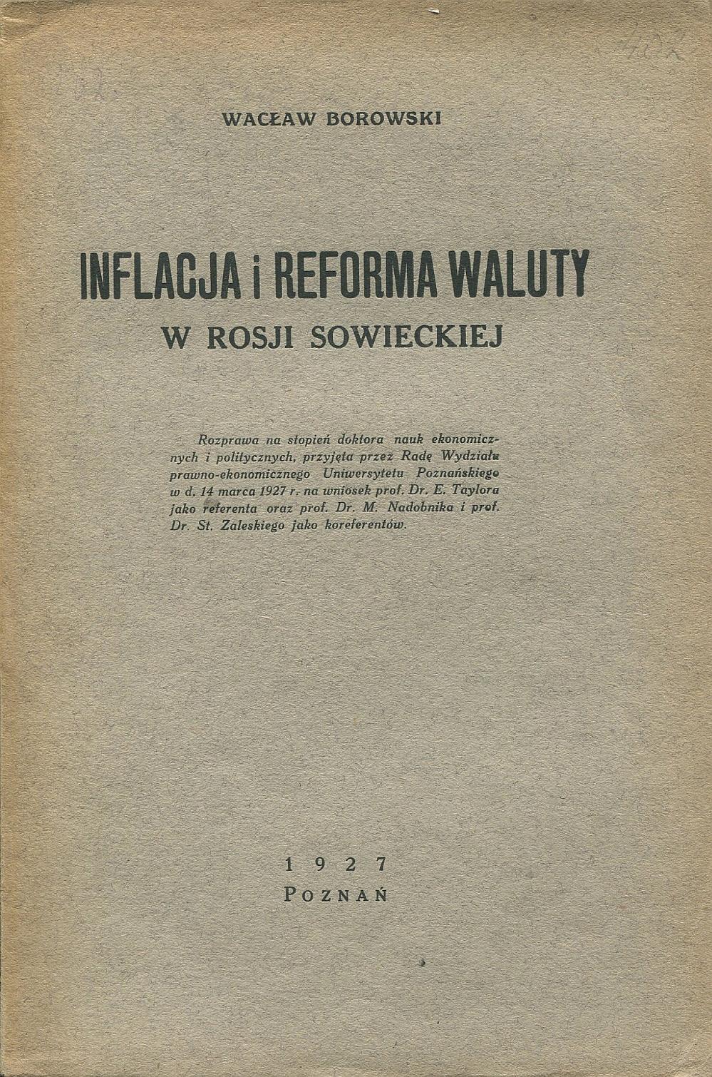 INFLACJA I REFORMA WALUTY Borowski 1927 Rosja ZSRR