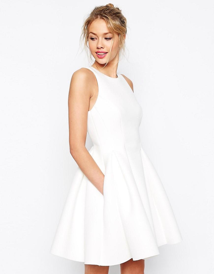 4c07c491ec Sukienka ASOS pianka biel 36 S rozkloszowana TUSK - 7581058856 ...