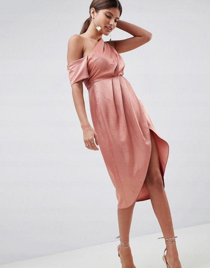 446c3e1d80 ASO DESIGN Ceglana sukienka midi z marszczeniem 42 - 7544310437 ...