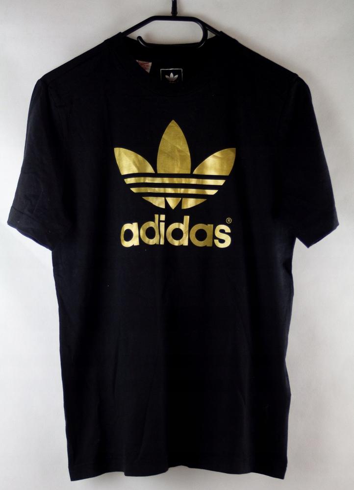 wykwintny styl specjalne wyprzedaże nowy design ADIDAS czarna koszulka złote logo 164