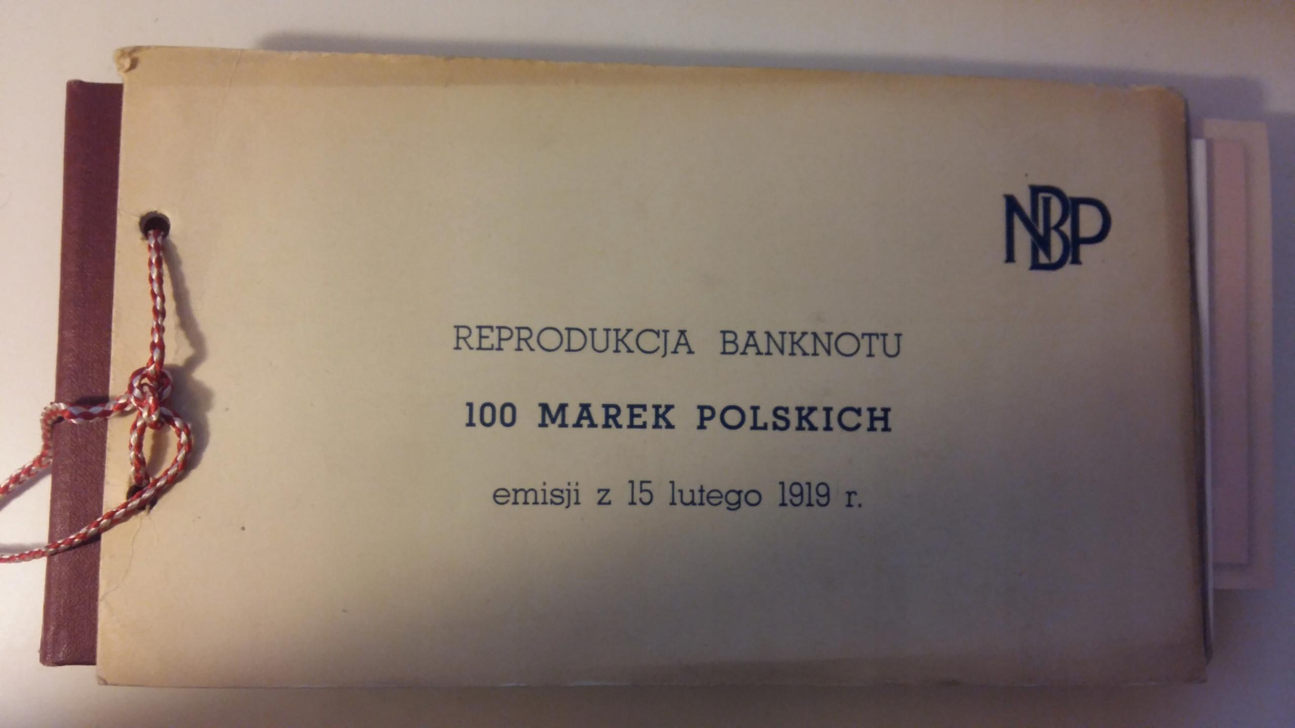 Reprodukcja banknotu 100 Marek Polskich (1919r.)