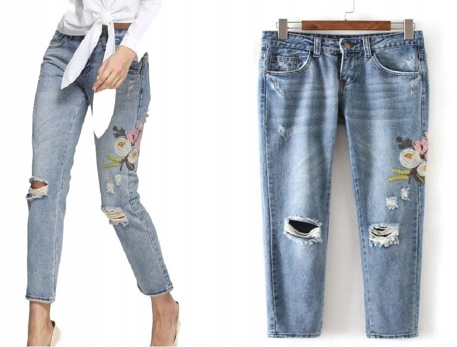 f9126f6a Spodnie damskie jeansy haft naszywki kwiaty S 36 - 6762810186 ...