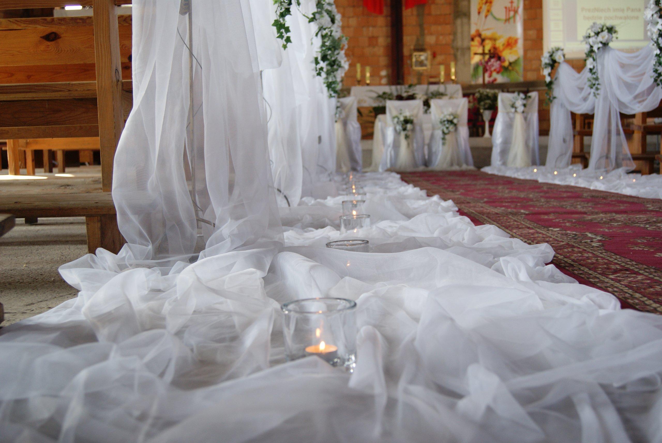 Tiul Dekoracja W Kościele ślub Wesele 10 M 7405637559