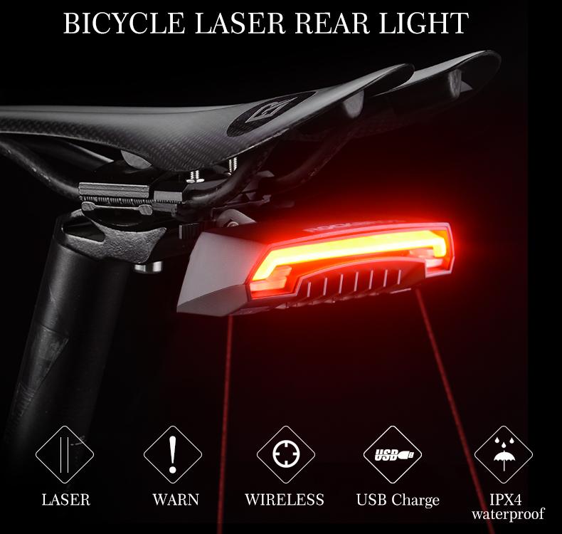 Oświetlenie Rowerowe Tylne Led Laser Rockbros Hit