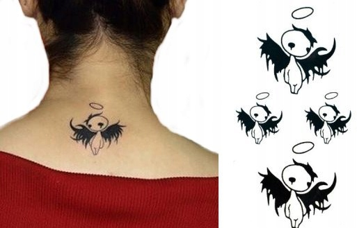 Upadły Anioł Tattoo Tatuaż Naklejka Hallowen M32