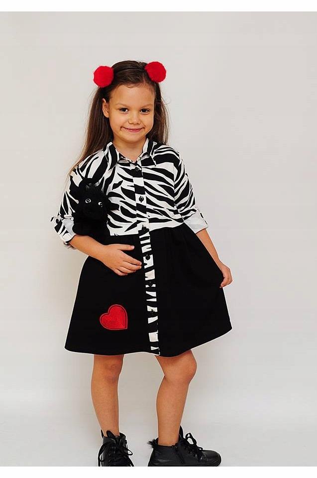 88a7889e21 Sukienka tunika zebra biało czarna świąteczna 146 - 7647276622 ...